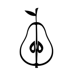 Silhouette monochrome with half an pear vector