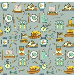 Sport seamless pattern weight loss diet template vector