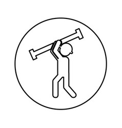 Construction worker with metal column avatar vector