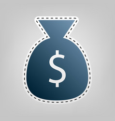 money bag sign   blue icon vector image