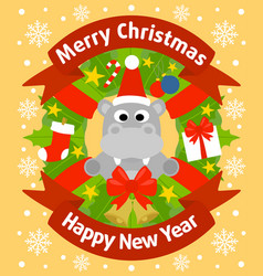 Christmas and new year background card with hippo vector