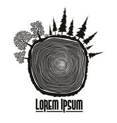 Wood stump emblem tree trunk vector