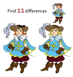 Find 11 differences musketeer vector