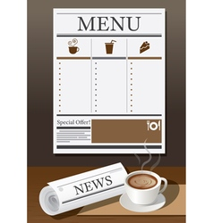 Coffee Cup Newspaper and Menu vector image