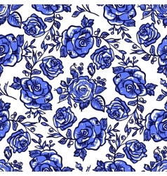 Pattern blue rose branch vector