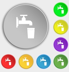 Faucet glass water icon sign symbol on five flat vector