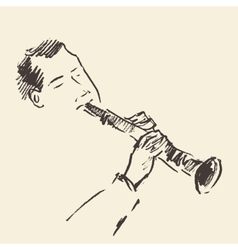 Jazz poster clarinet music acoustic consept vector