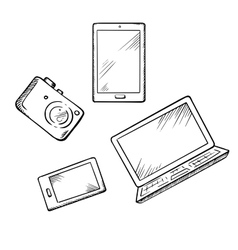Smartphone tablet pc laptop and camera vector