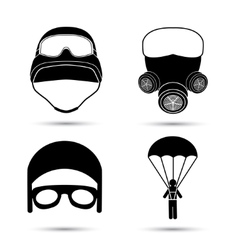 Military icons set isolated on white vector