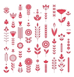 Red flower set pattern vector