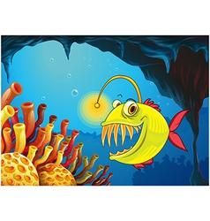 A cave with a piranha vector