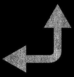 Bifurcation arrow left up fabric textured icon vector