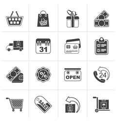 Black online shop icons vector