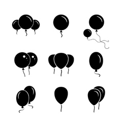 Black party balloon icon on white background vector
