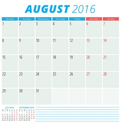 Calendar 2016 flat design template August Week vector image vector image