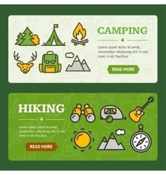 Camping Banner Horizontal Set vector image vector image