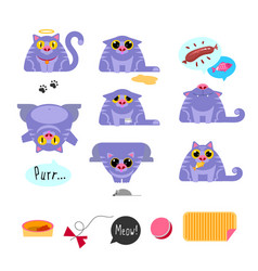Cat flat design icon set vector