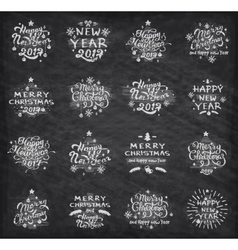 Christmas and New Year badges vector image
