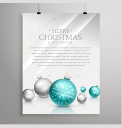 Christmas balls on glossy surface flyer design vector