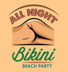 Color retro style poster for beach party vector