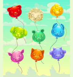 colorful glossy flying animal-shaped balloons vector image vector image