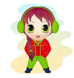 Cute anime chibi little girl wearing earmuffs vector