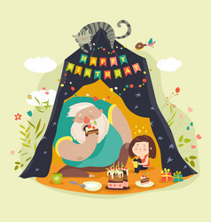 daddy and his daughter celebrating birthday vector image vector image