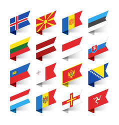 Flags of the world europe set 3 vector
