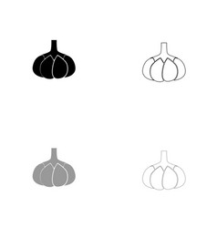 garlic black and grey set icon vector image