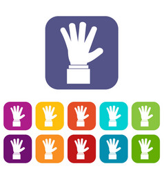Hand showing five fingers icons set vector