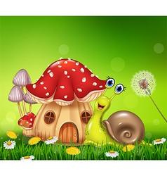 Happy snail with beautiful mushroom house vector
