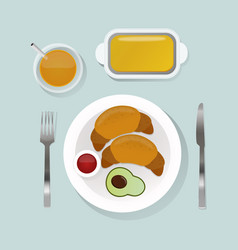 Healthy breakfast food with croissant top view vector