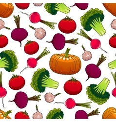 Healthy ripe vegetables seamless pattern vector image vector image
