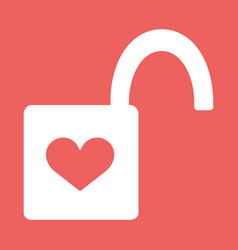 Heart padlock open in flat icon vector