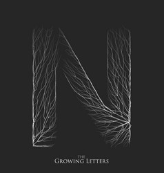 Letter n of branch or cracked alphabet n vector