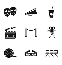 Movie theater icons set simple style vector