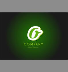 O alphabet letter logo green 3d company icon vector