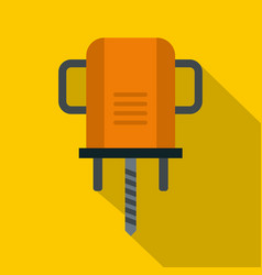 Orange boer drill icon flat style vector