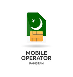 Pakistan mobile operator sim card with flag vector
