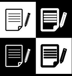 Paper and pencil sign black and white vector