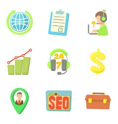 Registration icons set cartoon style vector