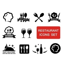 Restaurant icon with red signboard vector