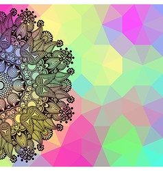 Round lace on geometric background vector