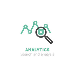 Simple icon of analytics flat bicolor line vector