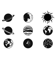Solar planet icons vector