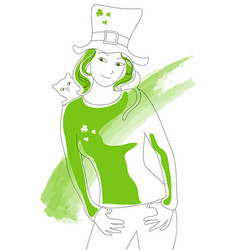 St patrick green lady vector