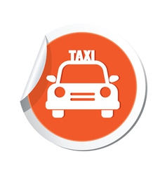 taxi car icon orange sticker vector image vector image