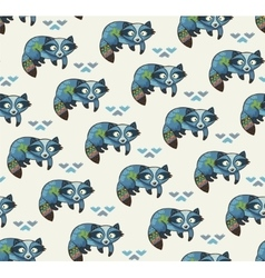 Indian seamless pattern of raccoons in vector