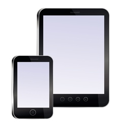 Tablet pc and mobile phone with empty screens vector