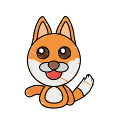 Draw fox animal comic vector